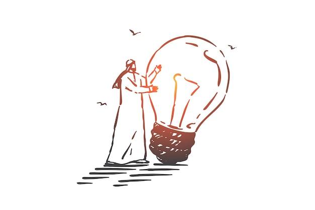 Generazione di idee, illustrazione di schizzo di concetto di brainstorming