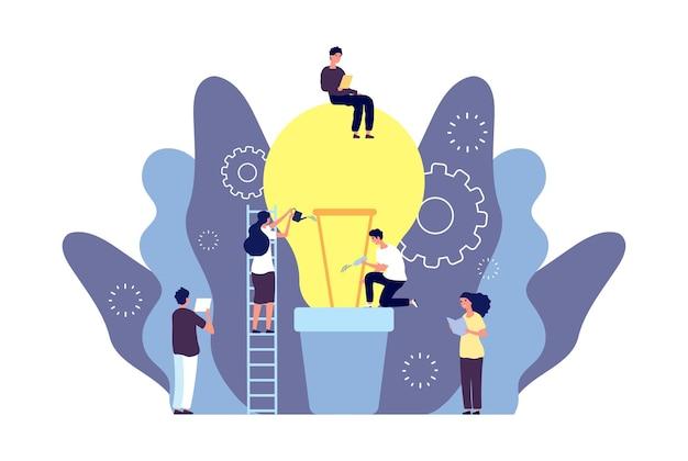 L'idea cresce il concetto. la squadra sviluppa l'illustrazione di idea di affari.