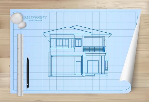 Idea di casa su sfondo di carta cianografia. carta da disegno architettonica su fondo di legno di struttura. illustrazione vettoriale.