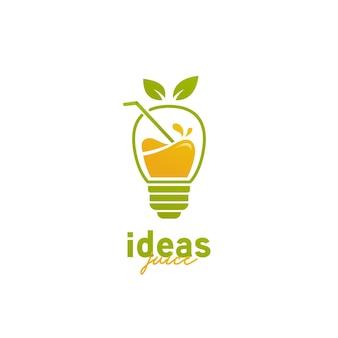 Logo del succo di idea, icona del logo del succo del frullato della lampadina dell'idea creativa