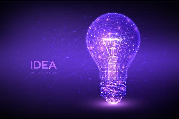 Idea. lampadina poligonale bassa. disegno astratto della lampadina con punti di collegamento. idea con triangolo geometrico.