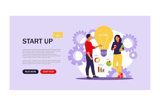 Idea, lancio di avvio, successo aziendale, concetto di brainstorming. modello di pagina web di atterraggio del sito web. illustrazione di vettore. appartamento.
