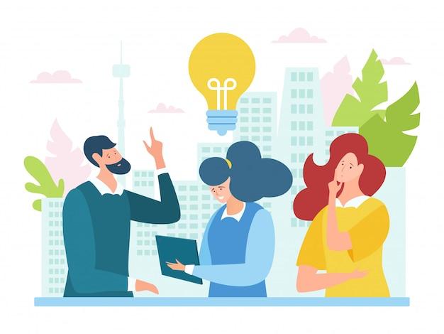 Brainstorming di lavoro di squadra di idea al concetto di riunione, illustrazione. il personaggio degli uomini d'affari lavora alla strategia aziendale dell'azienda.