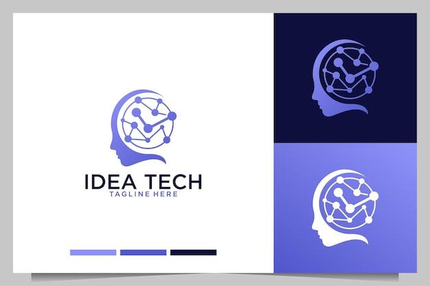 Tecnologia delle idee con design del logo del cervello