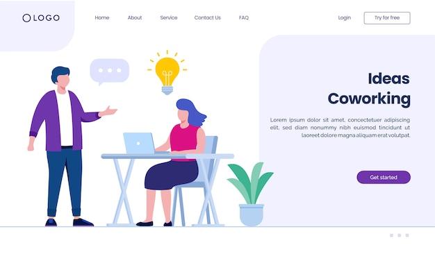 Sito web della pagina di destinazione del coworking di idee