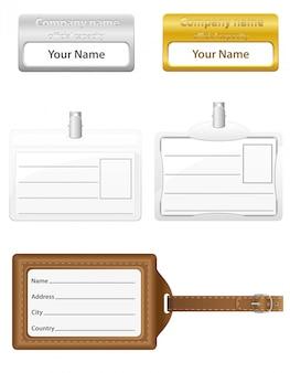 Icone di set di carte d'identità.