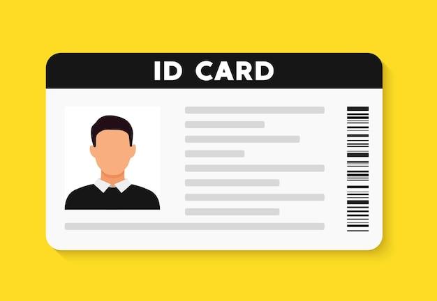 Icona della carta piatta di identificazione. illustrazione vettoriale