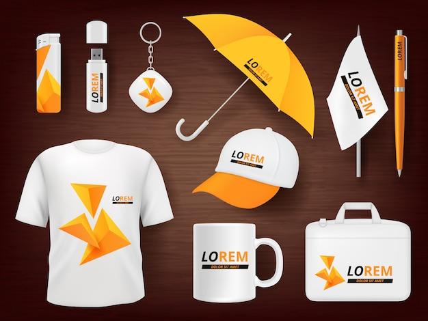 Identità. capi per accendisigari aziendali, souvenir aziendali, cartoline promozionali, uniformi, pacchetti, penna, accendino, penna, realistico