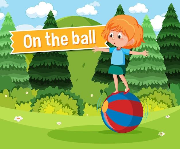 Poster di idioma con sulla palla