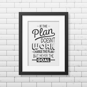Se il piano non funziona, cambia il piano, ma mai l'obiettivo