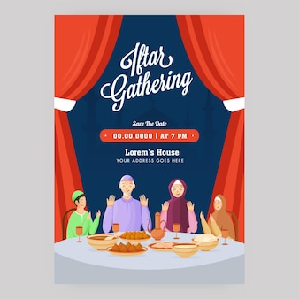 Iftar gathering flyer with muslim family praying before food and venue details.