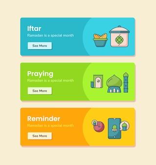 Promemoria di preghiera iftar per il modello di banner con illustrazione di disegno vettoriale in stile linea tratteggiata