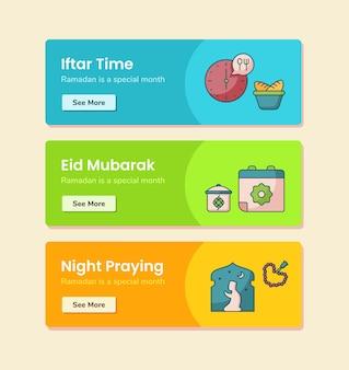 Iftar time eid mubarak night pregando per il modello di banner con illustrazione di disegno vettoriale in stile linea tratteggiata