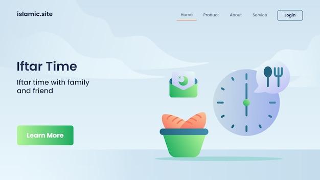Tempo iftar per l'atterraggio del modello di sito web o il design della home page
