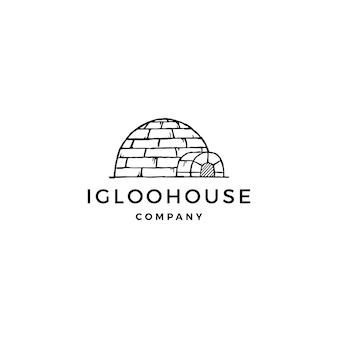 Illustrazione dell'icona di vettore di logo della casa dell'iglù