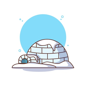 Igloo con neve isolata su bianco