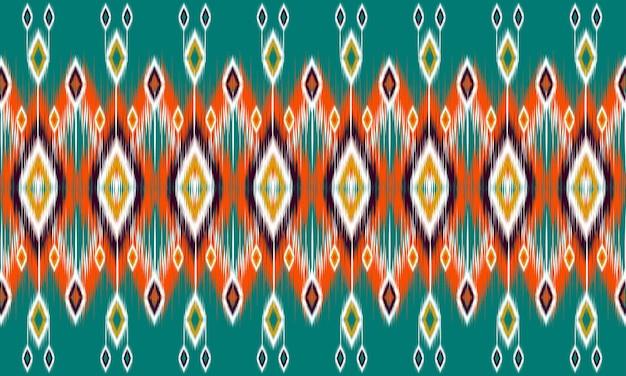 Ikat ornamento folklore geometrico con diamanti. design per sfondo, moquette, carta da parati, abbigliamento, avvolgimento, batik, tessuto, illustrazione vettoriale. stile ricamo.