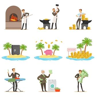 Riciclaggio di denaro illegale e utilizzo di offshores insieme di illustrazioni con uomo d'affari corrotto che lava soldi sporchi
