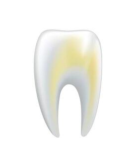 Dente umano malato. icona di vettore medico dentale. hai bisogno di cure dentistiche per denti macchiati o carie. restauro dei denti orali
