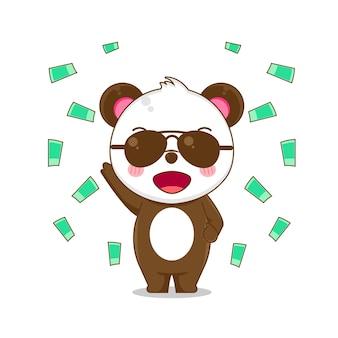 Illstration di carino panda ricco con gli occhiali