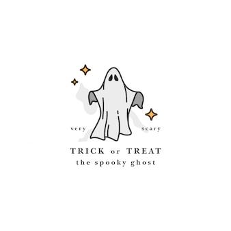 Illuatration spirito fantasma volante. felice festa di halloween. fantasmi bianchi spaventosi.