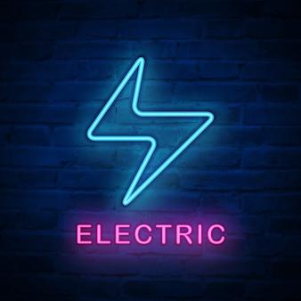 Illuminazione elettrica dell'icona della luce al neon illuminata