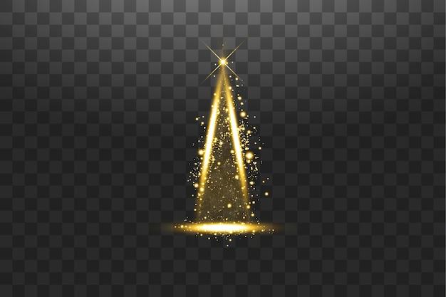 Illuminazione luci albero di natale splendente isolato su sfondo trasparente albero di natale bianco e dorato come simbolo di felice anno nuovo festa di buon natale celebrazione decorazione luce brillante