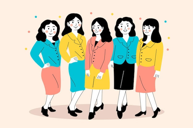 Illusration di donna d'affari in piedi insieme