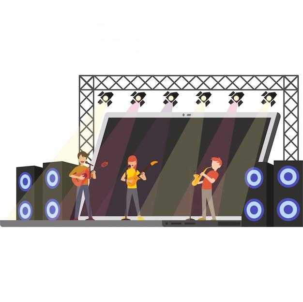 Illusration del concerto in linea sul laptop