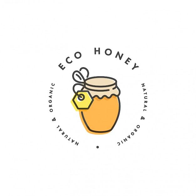 Logo illustartion e modello o badge. etichetta con miele biologico ed eco- bottiglia di miele. stile lineare.