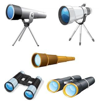 Illustrazione di telescopi e binocoli