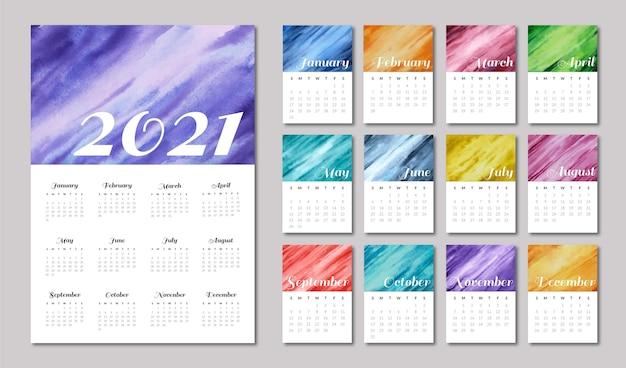 Modello di calendario 2021 illustrato Vettore Premium