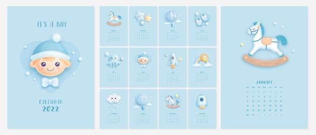 Modello di calendario illustrato 2022 con elementi bambino