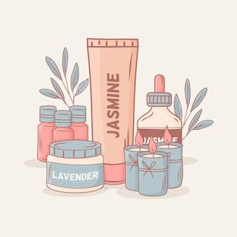 Accumulazione illustrata dell'elemento di aromaterapia