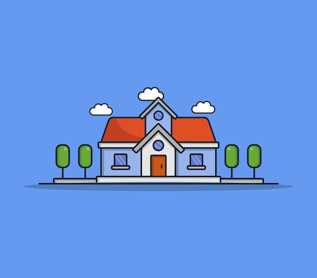 Casa dei cartoni animati illustrata