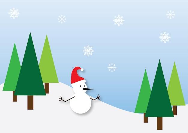 Biglietto di auguri di natale illustrato con pupazzo di neve