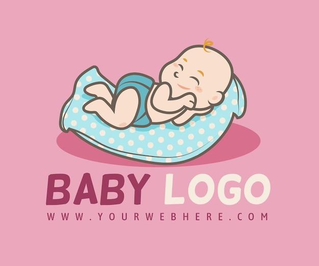 Modello di logo bambino dettagliato illustrato