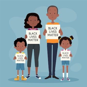 Famiglia illustrata che protesta nel movimento della materia delle vite nere