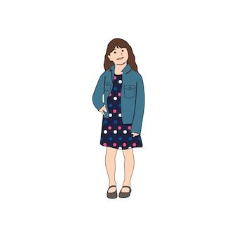 Bambina illustrata che sta da solo