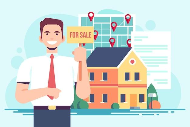 Assistenza agente immobiliare uomo illustrato