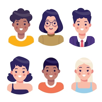 Collezione di avatar di persone illustrate