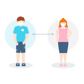 Concetto di distanziamento sociale illustrato