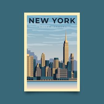 Manifesto di viaggio illustrato new york