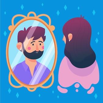 Donna illustrata guardarsi allo specchio e vedere un uomo