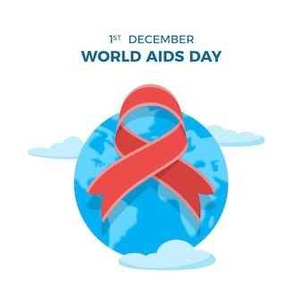 Nastro illustrato della giornata mondiale contro l'aids sul globo terrestre