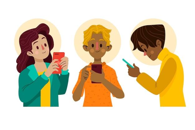 Giovani illustrati che utilizzano smartphone