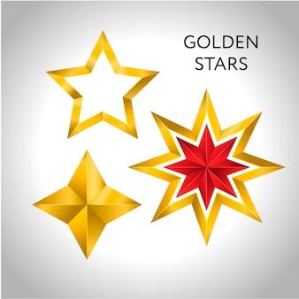Illustrazione di 3 stelle dorate natale vacanze di capodanno natale