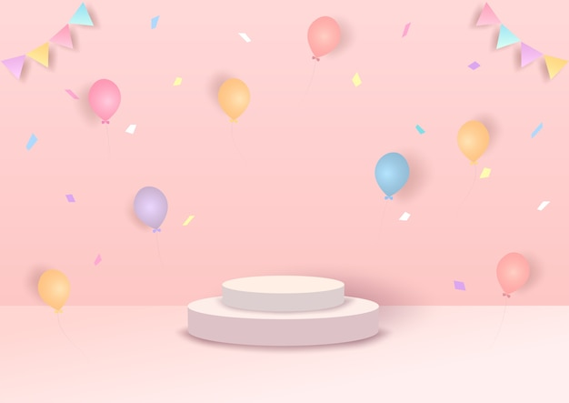 Illustrazione festa in stile 3d con palloncini su sfondo rosa.