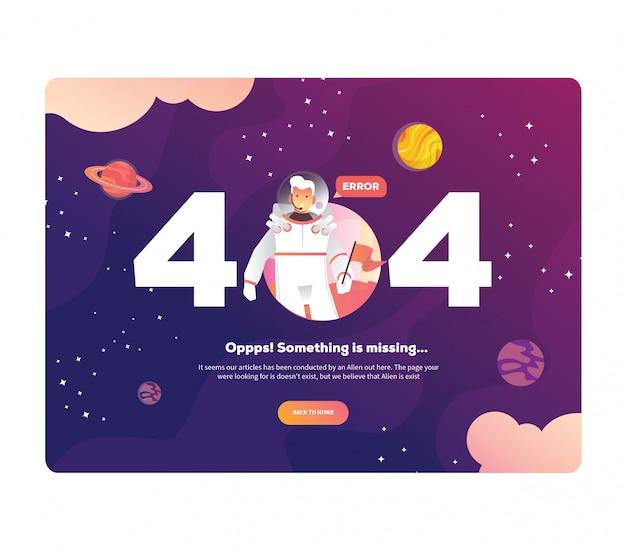 Illustrazione 404 modello di universo della pagina di errore per il sito web. spazio esterno con astronauta, pianeti e razzi. pagina non trovata errore 404.