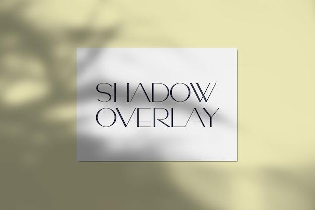 Illustrazione di carta a4 con realistico effetto di sovrapposizione di ombre tropicali. ombra di luce morbida trasparente sfocata dalle foglie degli alberi con foglio di carta per la presentazione del prodotto.